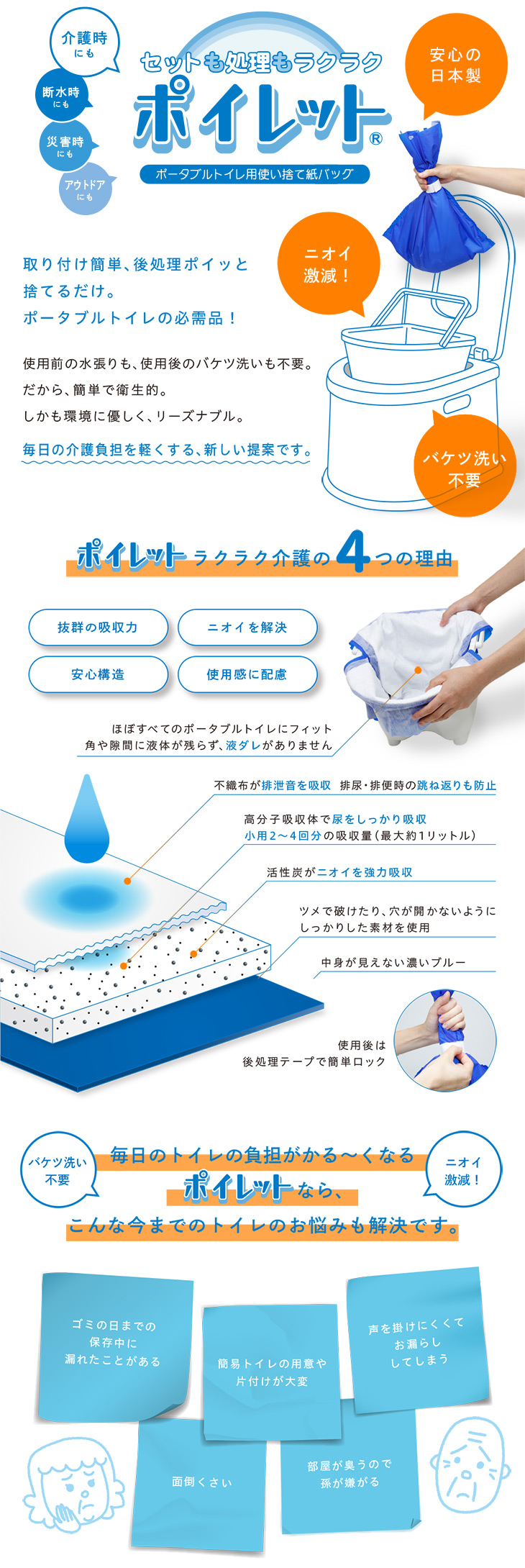ータブルトイレ用使い捨て紙バッグ|ポイレット®